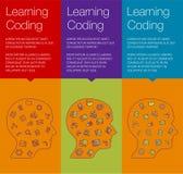 Знамя для онлайн курсов, воспитательная тренировка, app Стоковая Фотография