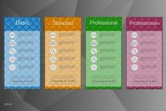 Знамя 4 для тарифов и списков цен на товары Дизайн вектора для сети app сеть иллюстрации элементов abstrat Хостинг плана Стоковая Фотография RF
