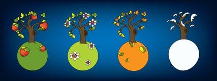 знамя 4 сезона иллюстрация вектора