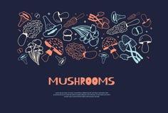 Знамя doodle гриба нарисованное рукой горизонтальное с изолированным Champignon эскиза, enokitake, устрицей, лисичкой, шиитаке Бесплатная Иллюстрация