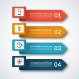 Знамя Infographic с 4 стрелками Стоковая Фотография
