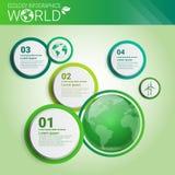 Знамя Infographics экологичности энергии зеленого цвета охраны окружающей среды мира с космосом экземпляра бесплатная иллюстрация