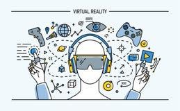 Знамя lineart виртуальной реальности вектор каникулы цветастой иллюстрации принципиальной схемы ослабляя Стоковое Фото