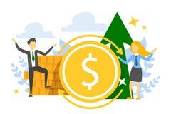 Знамя ROI, концепция рентабельности инвестиций Выгода в финансах иллюстрация штока