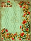 Знамя Wheaten маков вертикальное в стиле nouveau искусства Стоковое фото RF