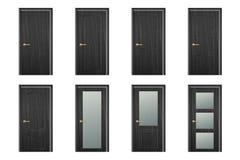 Значка двери вектора крупный план реалистического различного закрытого черного деревянного установленный изолированный на белой п иллюстрация штока