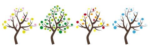 4 значка деревьев с листьями весной, летом, осенью и зимой иллюстрация вектора