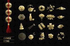 Значка культуры золота традиционное китайского установленное Стоковое Изображение