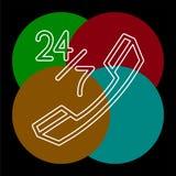 24 значка 7 обслуживания клиента иллюстрация штока