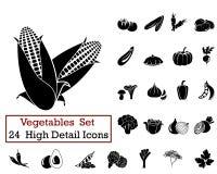 24 значка овощей Стоковые Изображения RF
