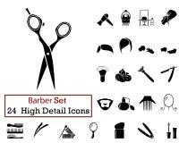 24 значка парикмахера Стоковые Изображения RF