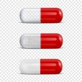 Значка таблетки вектора 3d крупный план реалистического красного медицинского установленный изолированный на предпосылке решетки  иллюстрация штока