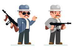 Значка характера мафии запрета бандита пистолет-пулемета гангстера иллюстрация вектора дизайна опасного ретро уголовного плоская иллюстрация штока