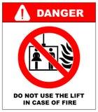 Значки аварийной ситуации огня вектора Не используйте подъем в случае огня Стоковое Изображение