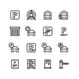 Значки автостоянки Гараж автомобиля и линия автостоянки символы вектора бесплатная иллюстрация