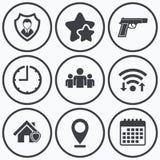 Значки агентства по безопасности Домашнее предохранение от экрана Стоковое Фото