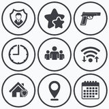 Значки агентства по безопасности Домашнее предохранение от экрана иллюстрация штока
