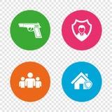 Значки агентства по безопасности Домашнее предохранение от экрана Стоковые Фото