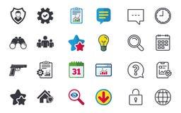 Значки агентства по безопасности Домашнее предохранение от экрана Стоковые Изображения
