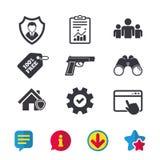 Значки агентства по безопасности Домашнее предохранение от экрана Стоковое фото RF