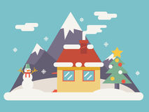 Значки аксессуаров рождества ландшафта Нового Года Стоковое фото RF