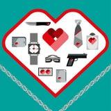 Значки аксессуаров людей символов дня валентинок St установили плоский дизайн Стоковые Фотографии RF