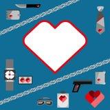 Значки аксессуаров людей символов дня валентинок St установили плоский дизайн Стоковое Фото
