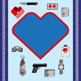 Значки аксессуаров людей символов дня валентинок St установили плоский дизайн Стоковое фото RF