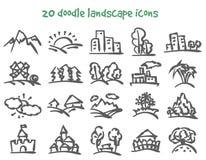 Значки ландшафта Doodle Стоковые Фотографии RF