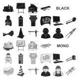 Значки архитектуры и конструкции черные в собрании комплекта для дизайна Сеть запаса символа вектора архитектора и оборудования иллюстрация штока