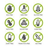 Значки аллергенов Стоковое Изображение