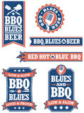 Значки барбекю и син Стоковые Фотографии RF