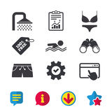 Значки бассейна Знаки ливня и swimwear Стоковая Фотография