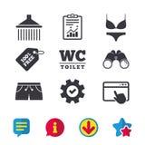 Значки бассейна Знаки ливня и swimwear Стоковое Изображение