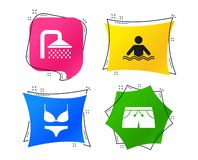 Значки бассейна Знаки ливня и swimwear вектор иллюстрация вектора