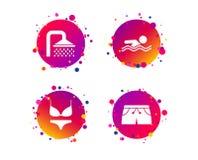 Значки бассейна Знаки ливня и swimwear вектор иллюстрация штока