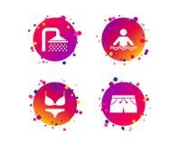 Значки бассейна Знаки ливня и swimwear вектор бесплатная иллюстрация