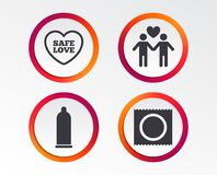 Значки безопасного секса презерватива Знак пар гомосексуалиста любовников иллюстрация штока