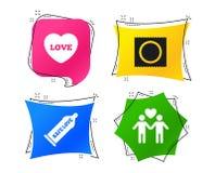 Значки безопасного секса презерватива Знак пар гомосексуалиста любовников вектор бесплатная иллюстрация