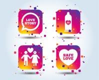 Значки безопасного секса презерватива Знак пар любовников иллюстрация штока