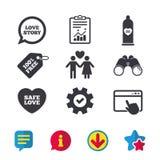 Значки безопасного секса презерватива Знак пар любовников Стоковая Фотография RF