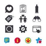 Значки безопасного секса презерватива Знак пар любовников Стоковое Фото
