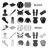 Значки бейсбола и атрибутов черные в собрании комплекта для дизайна Сеть запаса символа вектора бейсболиста и оборудования иллюстрация вектора