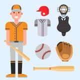 Значки бейсболиста шаржа бить вектор конструируют американское оборудование лиги спорта спортсмена игры иллюстрация штока