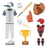 Значки бейсболиста шаржа бить вектор конструируют американское оборудование лиги спорта спортсмена игры бесплатная иллюстрация