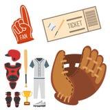 Значки бейсболиста шаржа бить вектор конструируют американское оборудование лиги спорта спортсмена игры иллюстрация вектора