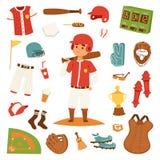 Значки бейсболиста шаржа бить дизайн вектора иллюстрация штока
