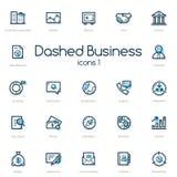 Значки бизнес-линии установленные с голубым акцентом Стоковое Изображение