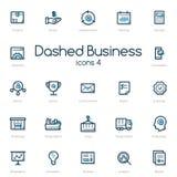 Значки бизнес-линии установленные с голубым акцентом Стоковое Фото