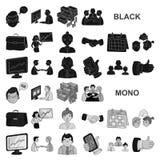 Значки бизнес-конференции и переговоров черные в собрании комплекта для дизайна Запас символа вектора дела и тренировки иллюстрация штока